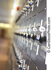 School Lockers - Metal school lockers with combination locks...