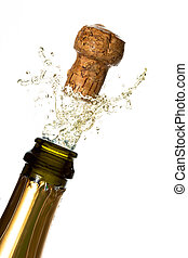 Close up of champagne cork popping on white background
