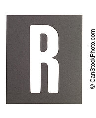 letter r - Gray cardboard with cut out letter R
