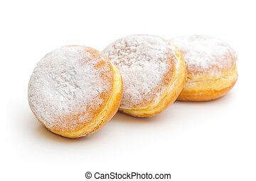 donuts on a white background - three sugary donuts on a...