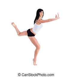 Young smiling fitness woman with holding gesture