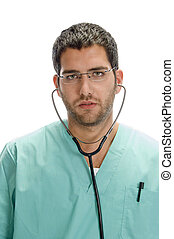 doctor with stethoscope in his ears
