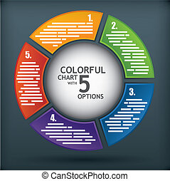 Presentation diagram template with five options and a sphere...
