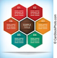 Hexagonal presentation template with six options and one...