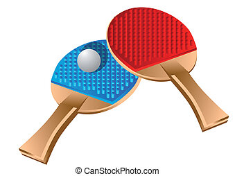 table tennis. racket and ball isolated on white