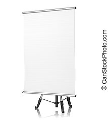 Square Flipchart on White Background. - Flipchart on Tripod,...