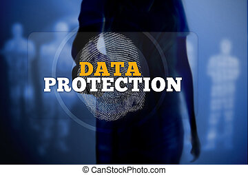 Silhouette of woman touching data protection button with...