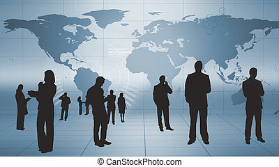 Silhouettes of business people at work