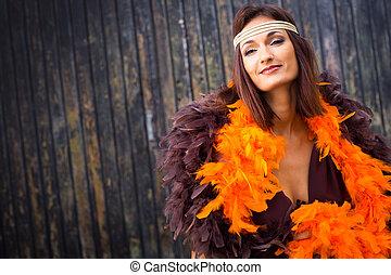 girl in brown and orange boa - beautiful actress girl in...