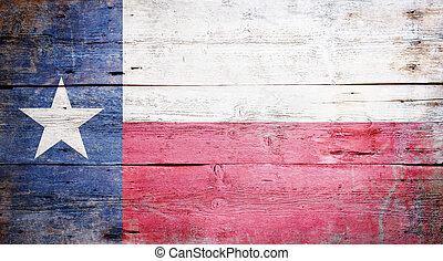 Flag of the State of Texas painted on grungy wooden...