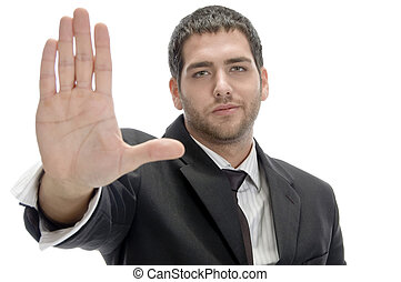 businessman stopping someone on an isolated white background