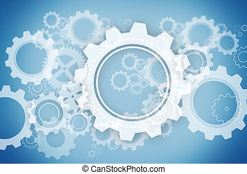 White wheels and cogs on blue background