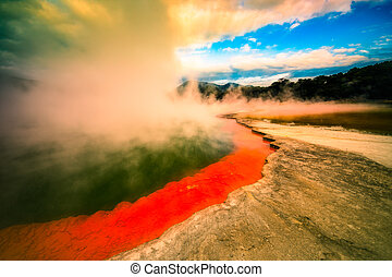 New Zealand wonderland - Beautiful colourful Champagne Pool...