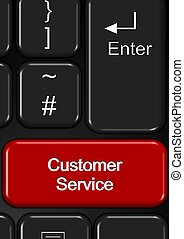 Customer service - Part of keyboard with a customer service...