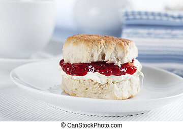 English Scone - English scone with clotted cream and Jam