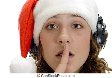 woman instructing to keep silent