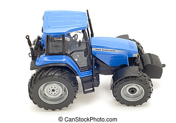 Blue tractor - object on white - toy - tractor