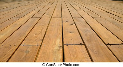 Wooden Platform Deck - -- made from large planks in natural...