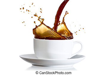 Coffee pouring into cup - Coffee pouring into white cup and...