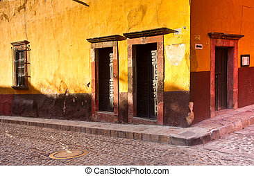 San Miguel de Allende - A colorful street scene in romantic...