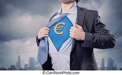Businessman showing superman suit underneath shirt - Image...