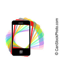 Modern phone of type ipad with color shadows - The image of...