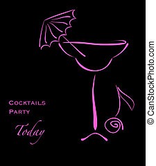 Cocktail party. Pink silhouette of alcohol cocktail in glass...