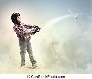 Little boy in pilots hat - Image of little boy in pilots...