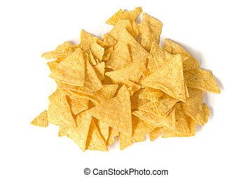 nachos - heap of salty yellow nachos on white ground