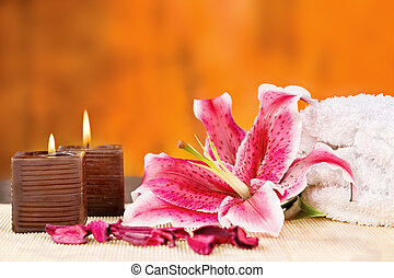 candles with towel and orchid - Par of candles with towel...