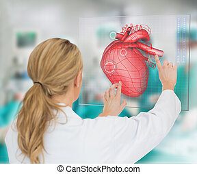 Doctor consulting touchscreen displaying heart diagram...