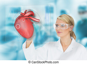 Doctor consulting heart diagram on touchscreen display in...