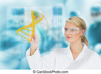 Doctor consulting DNA helix diagram on touchscreen display...