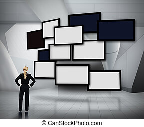 Group of blank screens on grey digital background with...