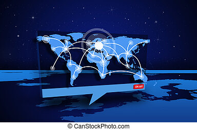 Digital speech box showing world connections coming from world map in blue