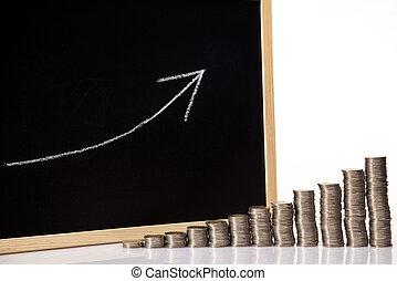 硬幣, 上升, 圖表
