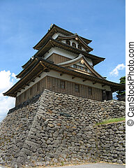 Japanese Castle 2 - A Japanese castle on a bright blue sunny...
