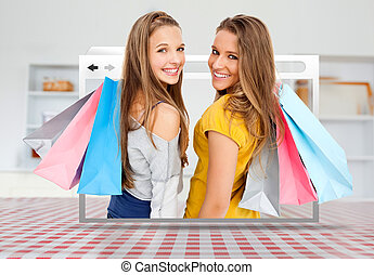 Digital internet window showing girls with shopping bags...