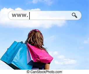 Girl holding shopping bags with address bar above against a...