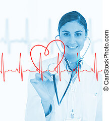 Doctor holding stethoscope up to ECG line - Doctor holding...