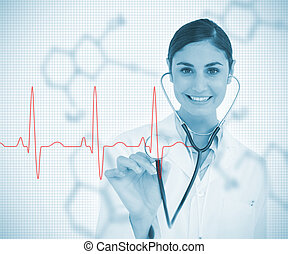 Doctor holding stethoscope up to red ECG line on chemical...