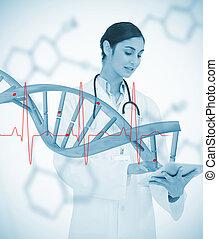 doktor, używając, tabliczka, PC, graficzny, DNA, spirala,...