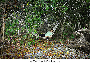 Hammock in jungle
