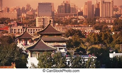 Panoramic of China ancient tower architecture urban high...