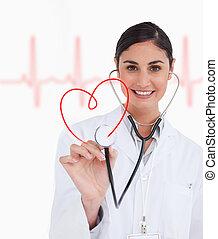 szczęśliwy, doktor, dzierżawa, Do góry, stetoskop,...
