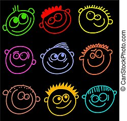 colourful faces - colourful smilie face wallpaper background...