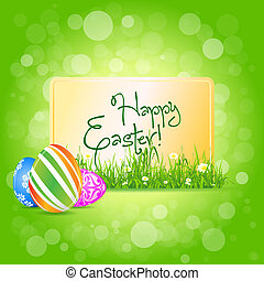 Easter Card with Grass and Decorated Eggs