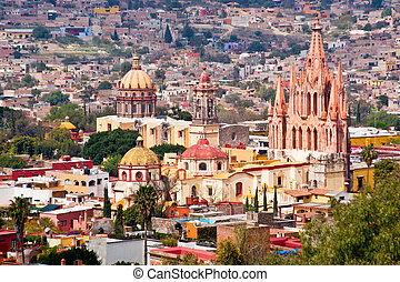 San Miguel de Allende, Mexico - Grand view of colorful and...