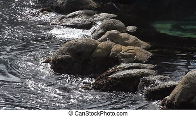 water on rocky shoreline
