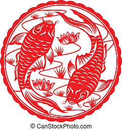 Chinese koi. - Chinese koi fish in paper cutting.